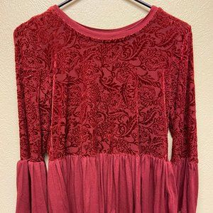Red long sleeve flowy lace shirt